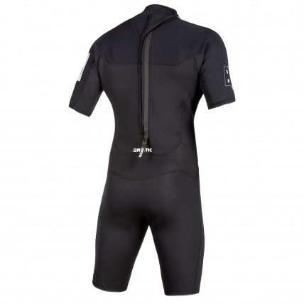 Mystic Brand 3/2 Mens Summer Shorty Wetsuit Black Rear