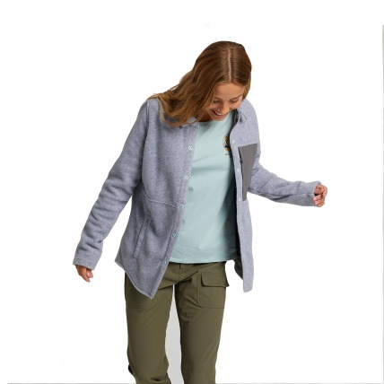 Burton Hearth Grey Heather Womens Snap Up Fleece