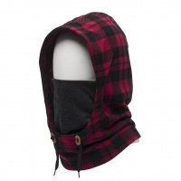 686 - Tarmac Mens Fleece Hood Ox Blood Plaid