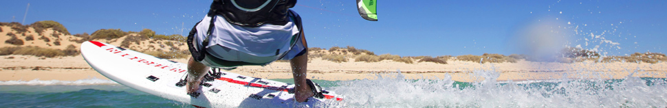 Kitesurfing with surfboard