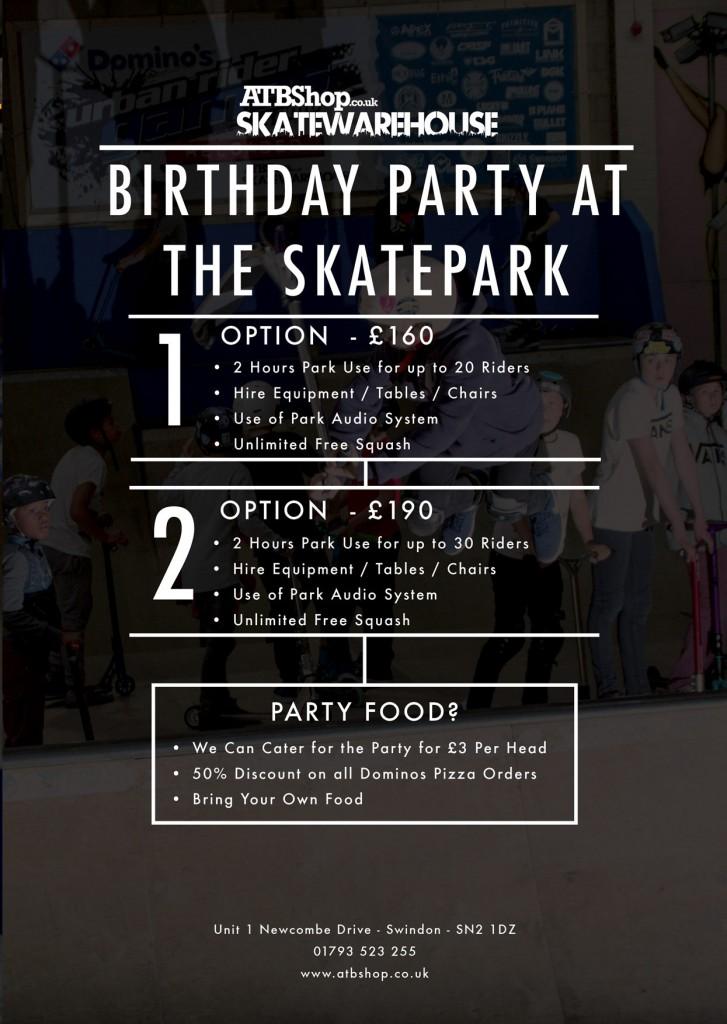 ATBShop Skatepark Birthday Parties Private Hire Swindon - Childrens birthday party ideas swindon